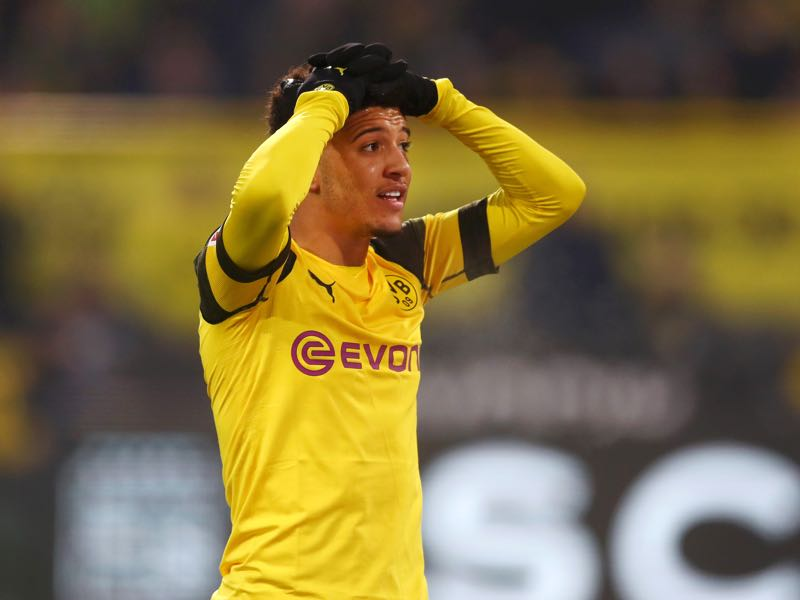Borussia Dortmund v Mainz - Jadon Sancho of Borussia Dortmund reacts during the Bundesliga match between Borussia Dortmund and 1. FSV Mainz 05 at Signal Iduna Park on April 13, 2019 in Dortmund, Germany. (Photo by Lars Baron/Bongarts/Getty Images)