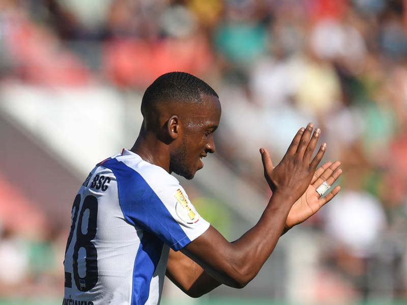 Hertha Berlin's Belgian forward Dodi Lukebakio reacts during the German Cup (DFB Pokal) first round football match VfB Eichstaett vs Hertha BSC Berlin at the stadium in Ingolstadt, southern Germany, on August 11, 2019. (Photo by Christof STACHE / AFP)