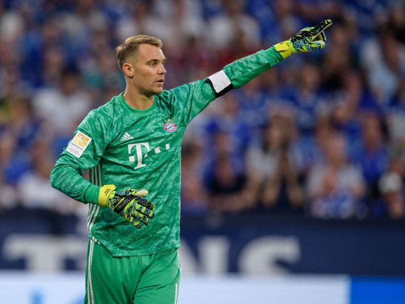 Manuel Neuer of Munich gestures during the Bundesliga match between FC Schalke 04 and FC Bayern Muenchen at Veltins-Arena on August 24, 2019 in Gelsenkirchen, Germany. (Photo by Jörg Schüler/Bongarts/Getty Images)