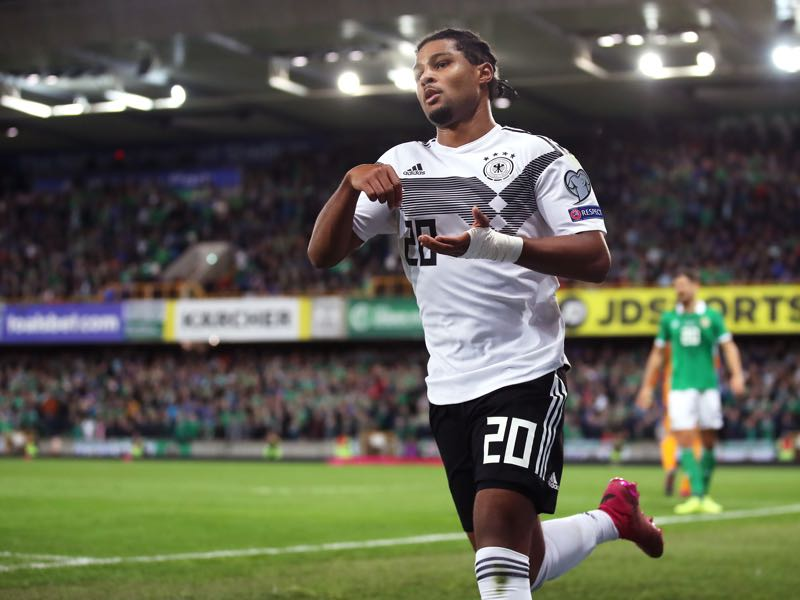 Northern Ireland v Germany - Serge Gnabry of Germany celebrates after scoring his team's second goal during the UEFA Euro 2020 qualifier match between Northern Ireland and Germany at Windsor Park on September 09, 2019 in Belfast, Northern Ireland. (Photo by Alex Grimm/Bongarts/Getty Images)