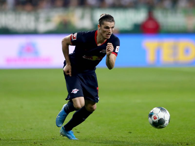Marcel Sabitzer of Leipzig runs with the ball during the Bundesliga match between SV Werder Bremen and RB Leipzig at Wohninvest Weserstadion on September 21, 2019 in Bremen, Germany. (Photo by Martin Rose/Bongarts/Getty Images)