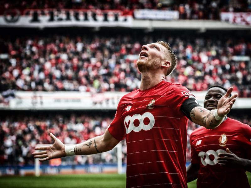 Standard's Renaud Emond celebrates after scoring during a soccer match between Standard de Liege and Excel Mouscron, Sunday 18 August 2019 in Liege, on the fourth day of the 'Jupiler Pro League' Belgian soccer championship season 2019-2020. BELGA PHOTO VIRGINIE LEFOUR