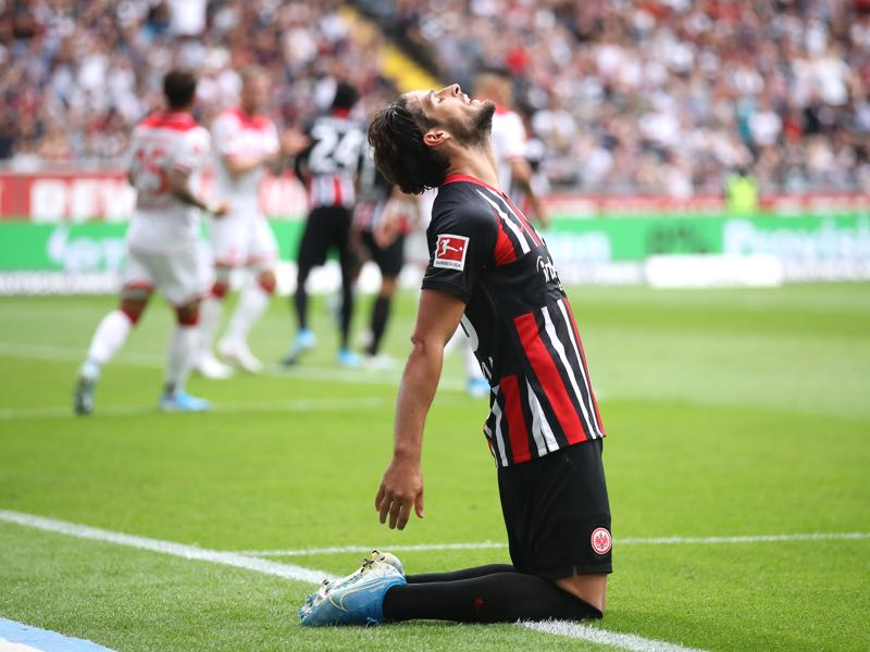 Goncalo Paciencia of Frankfurt reacts during the Bundesliga match between Eintracht Frankfurt and Fortuna Duesseldorf at Commerzbank-Arena on September 01, 2019 in Frankfurt am Main, Germany. (Photo by Alex Grimm/Bongarts/Getty Images)