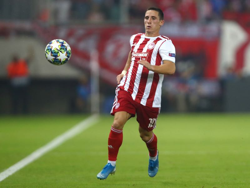 Daniel Podence of Olympiacos in action during the UEFA Champions League group B match between Olympiacos FC and Tottenham Hotspur at Karaiskakis Stadium on September 18, 2019 in Piraeus, Greece. (Photo by Dean Mouhtaropoulos/Getty Images)