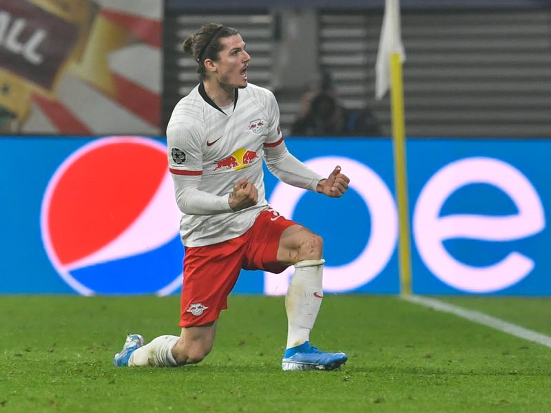 Leipzig v Zenit - Leipzig's Austrian midfielder Marcel Sabitzer celebrates after scoring the 2-1 during the UEFA Champions League Group G football match RB Leipzig vs Zenit St Petersburg in Leipzig, eastern Germany, on October 23, 2019. (Photo by John MACDOUGALL / AFP)