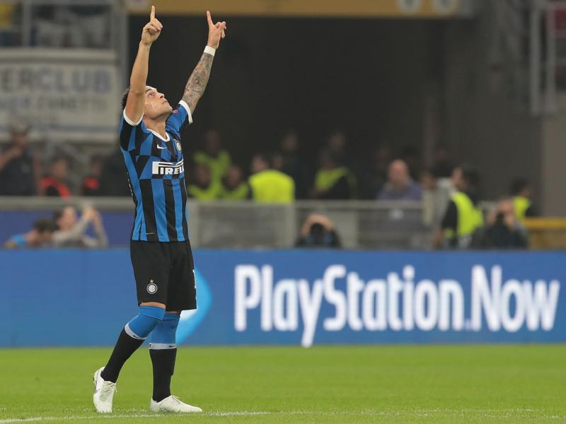 Inter Milan v Dortmund - Lautaro Martinez of FC Internazionale celebrates after scoring the opening goal during the UEFA Champions League group F match between FC Internazionale and Borussia Dortmund at Giuseppe Meazza Stadium on October 23, 2019 in Milan, Italy. (Photo by Emilio Andreoli/Getty Images)