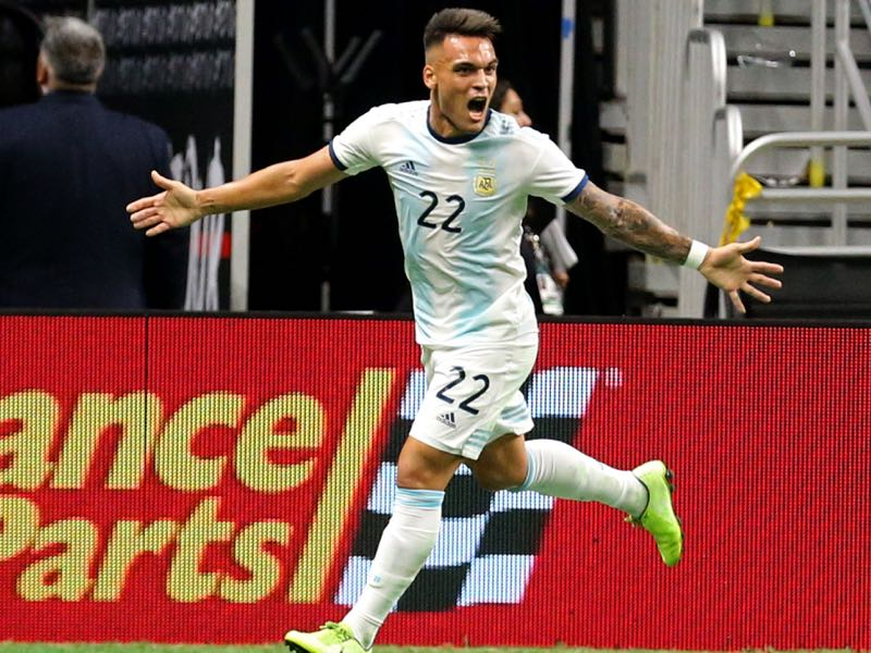 Lautaro Martinez #22 of Argentina celebrates after scoring a goal against Mexico during the International Friendly soccer match at the Alamodome on September 10, 2019 in San Antonio, Texas. (Photo by Edward A. Ornelas/Getty Images)