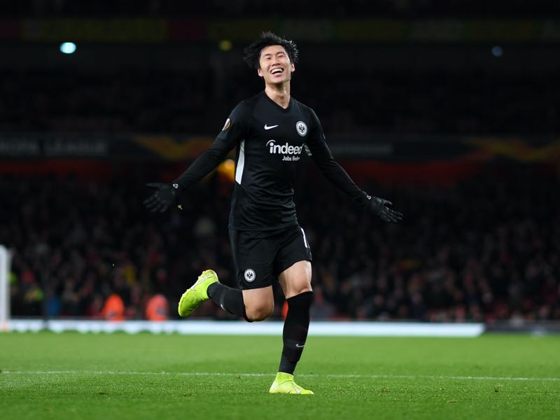 Arsenal v Eintracht Frankfurt - Daichi Kamada of Eintracht Frankfurt celebrates after scoring his team's second goal during the UEFA Europa League group F match between Arsenal FC and Eintracht Frankfurt at Emirates Stadium on November 28, 2019 in London, United Kingdom. (Photo by Shaun Botterill/Getty Images)