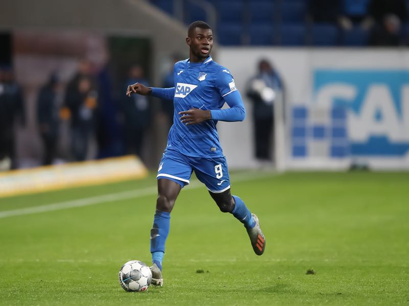 Ihlas Bebou of TSG 1899 Hoffenheim in action during the Bundesliga match between TSG 1899 Hoffenheim and FC Augsburg at PreZero-Arena on December 13, 2019 in Sinsheim, Germany. (Photo by Christian Kaspar-Bartke/Bongarts/Getty Images)