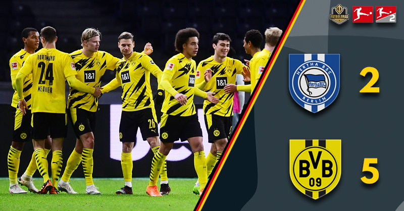 Golden Boy Haaland nets four in a five-star Dortmund performance in Berlin