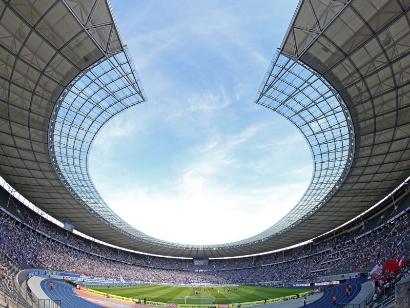 Hertha Berlin vs Bayern Munich will take place at the Olympiastadion in Berlin (Photo by Matthias Kern/Bongarts/Getty Images)