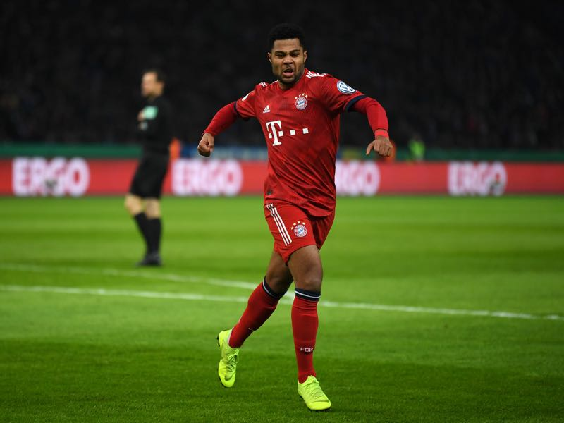 Hertha v Bayern - Serge Gnabry of Bayern Munich celebrates after scoring his sides first goal during the DFB Cup match between Hertha BSC and FC Bayern Muenchen at Olympiastadion on February 06, 2019 in Berlin, Germany. (Photo by Stuart Franklin/Bongarts/Getty Images)
