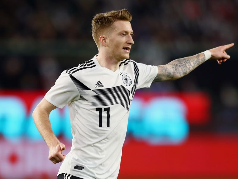 Marco Reus of Germany reacts during the International Friendly match between Germany and Serbia at Volkswagen Arena on March 20, 2019 in Wolfsburg, Germany. (Photo by Martin Rose/Bongarts/Getty Images,)