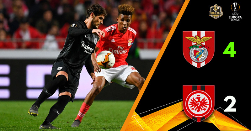 Benfica with the advantage after beating ten-man Eintracht Frankfurt