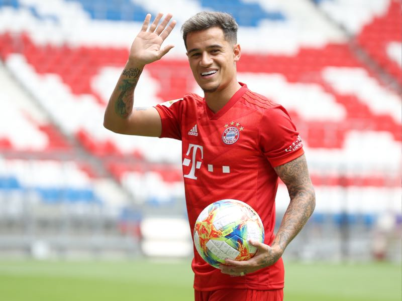 Newly signed Player of FC Bayern Muenchen Philippe Coutinho reacts during his official presentation at Allianz Arena on August 19, 2019 in Munich, Germany. (Photo by Alexander Hassenstein/Bongarts/Getty Images)