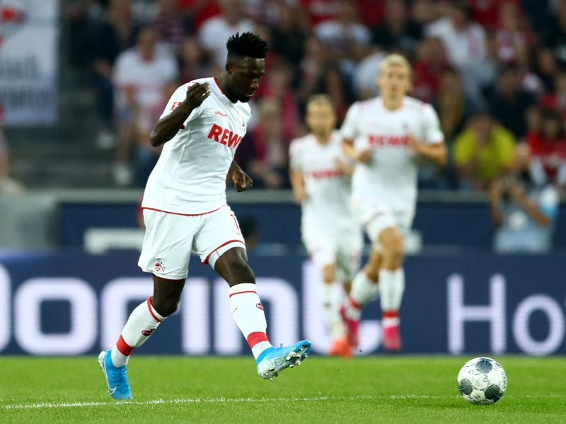 Kingsley Schindler of Koeln runs with the ball during the Bundesliga match between 1. FC Koeln and Borussia Dortmund at RheinEnergieStadion on August 23, 2019 in Cologne, Germany. (Photo by Lars Baron/Bongarts/Getty Images)
