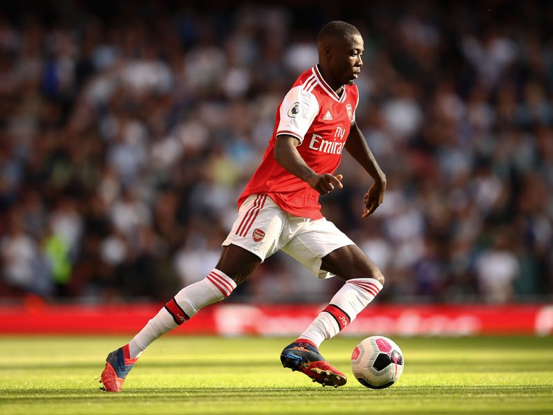 Nicolas Pepe of Arsenal in action during the Premier League match between Arsenal FC and Tottenham Hotspur at Emirates Stadium on September 01, 2019 in London, United Kingdom. (Photo by Julian Finney/Getty Images)