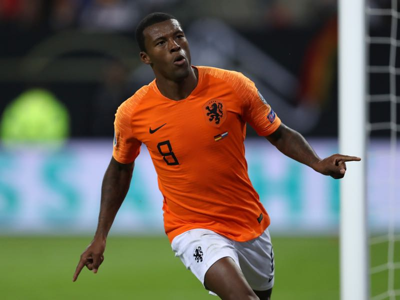 Germany v Netherlands - Georginio Wijnaldum of The Netherlands celebrates after scoring his sides 4th goal during the UEFA Euro 2020 qualifier match between Germany and Netherlands at Volksparkstadion on September 06, 2019 in Hamburg, Germany. (Photo by Maja Hitij/Bongarts/Getty Images)