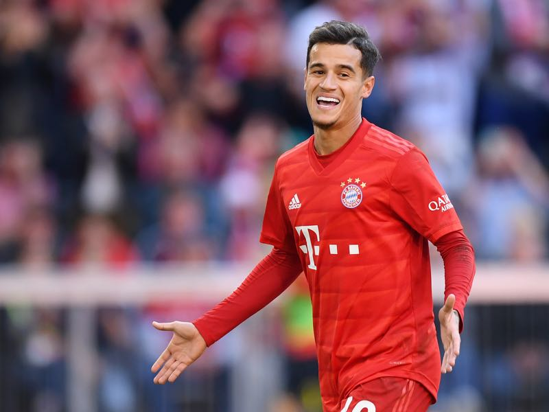 Bayern Munich v Köln - Philippe Coutinho of FC Bayern Munich celebrates as he scores his team's third goal from a penalty during the Bundesliga match between FC Bayern Muenchen and 1. FC Koeln at Allianz Arena on September 21, 2019 in Munich, Germany. (Photo by Sebastian Widmann/Bongarts/Getty Images)