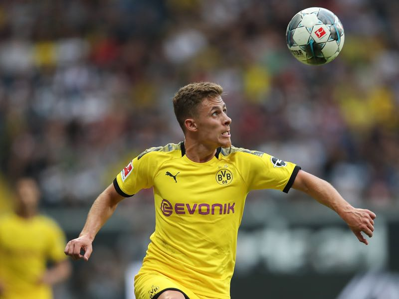 Thorgan Hazard of Borussia Dortmund looks at the ball during the Bundesliga match between Eintracht Frankfurt and Borussia Dortmund at Commerzbank-Arena on September 22, 2019 in Frankfurt am Main, Germany. (Photo by Christian Kaspar-Bartke/Bongarts/Getty Images)