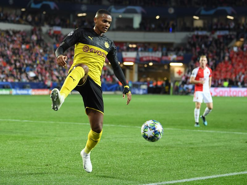 Manuel Akanji of Borussia Dortmund plays the ball during the UEFA Champions League group F match between Slavia Praha and Borussia Dortmund at Eden Stadium on October 02, 2019 in Prague, Czech Republic. (Photo by Sebastian Widmann/Getty Images)