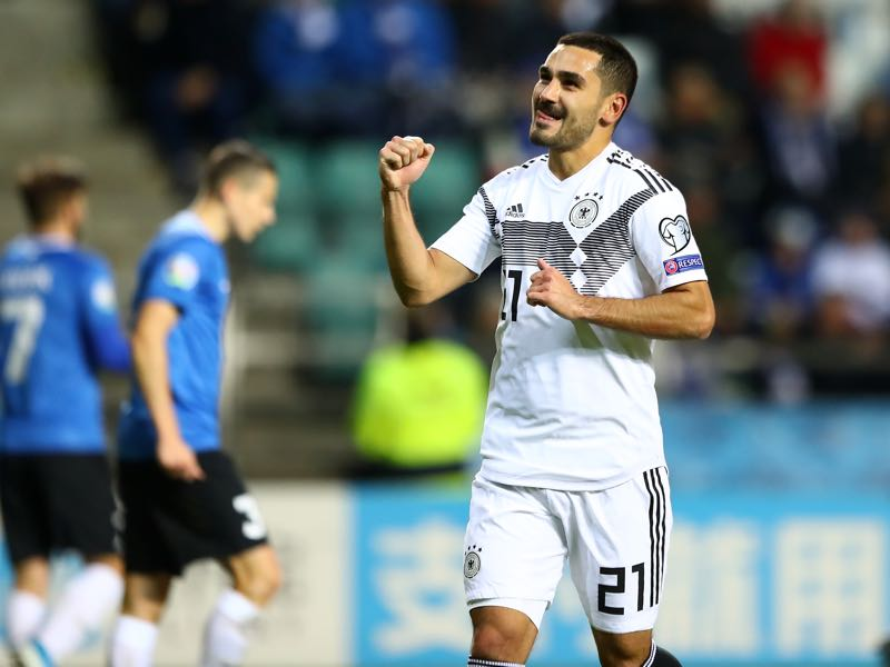 Estonia v Germany - Ilkay Gündogan of Germany celebrates scoring his team's second goal during the UEFA Euro 2020 qualifier between Estonia and Germany on October 13, 2019 in Tallinn, Estonia. (Photo by Martin Rose/Bongarts/Getty Images)