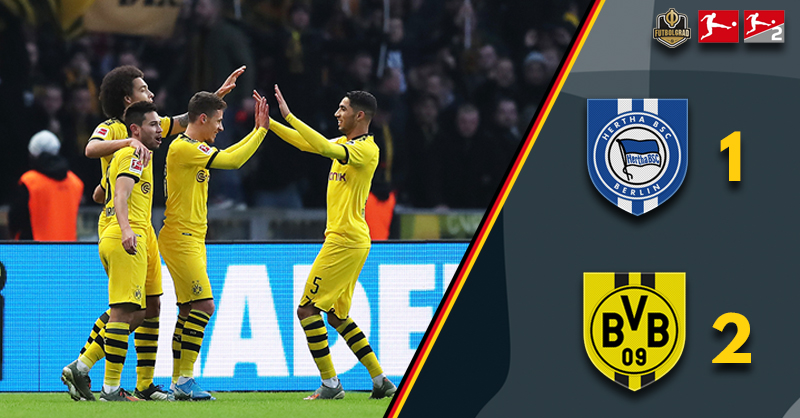 Borussia Dortmund triumphant as resolve and guts see off Hertha Berlin