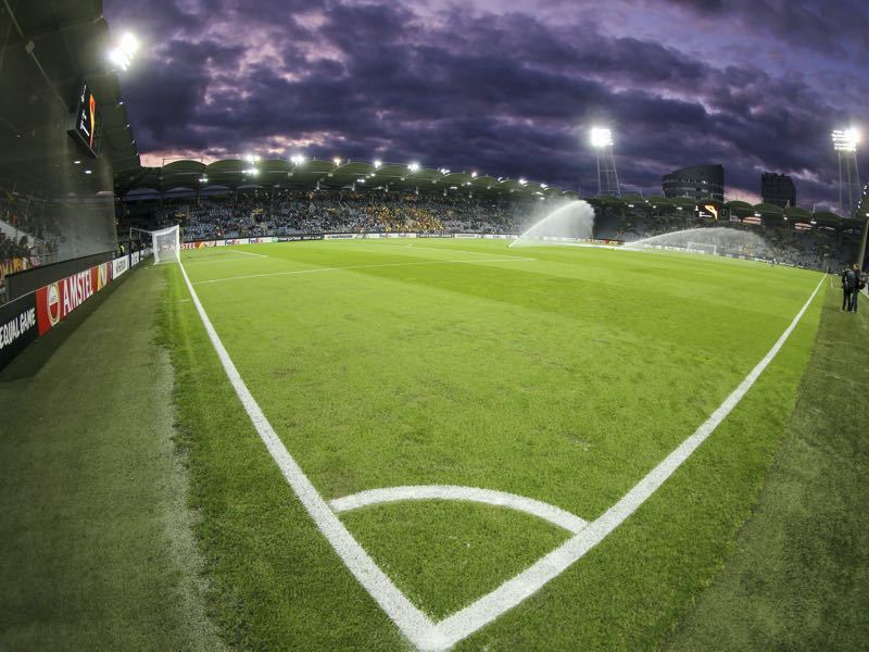 Wolfsberg vs Gladbach will take place at the Stadion Graz (Photo by Martin Rauscher - SEPA.Media/Getty Images)