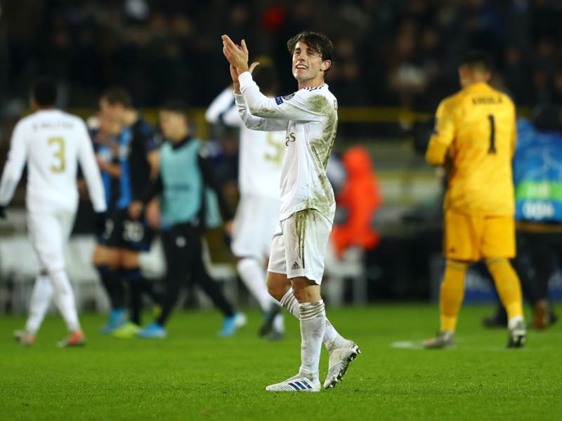 Alvaro Odriozola of Real Madrid applauds fans after following victory in the UEFA Champions League group A match between Club Brugge KV and Real Madrid at Jan Breydel Stadium on December 11, 2019 in Brugge, Belgium. (Photo by Dean Mouhtaropoulos/Getty Images)