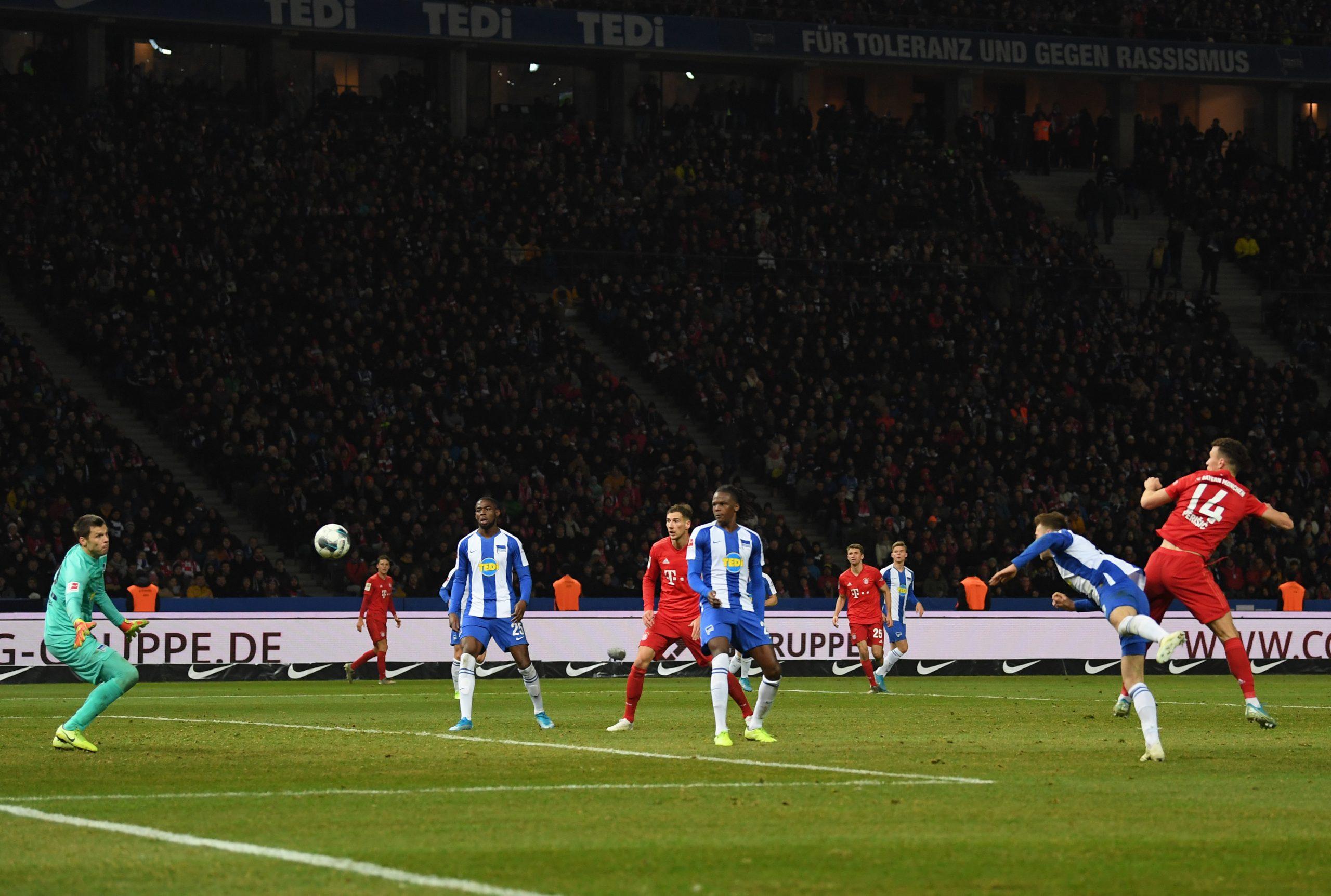 Ivan Perisic scores Bayern's fourth goal during the Bundesliga match: Hertha vs Bayern München