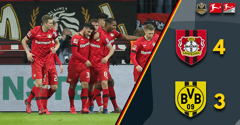 Bayer Leverkusen edge a thriller as Borussia Dortmund are beaten 4-3