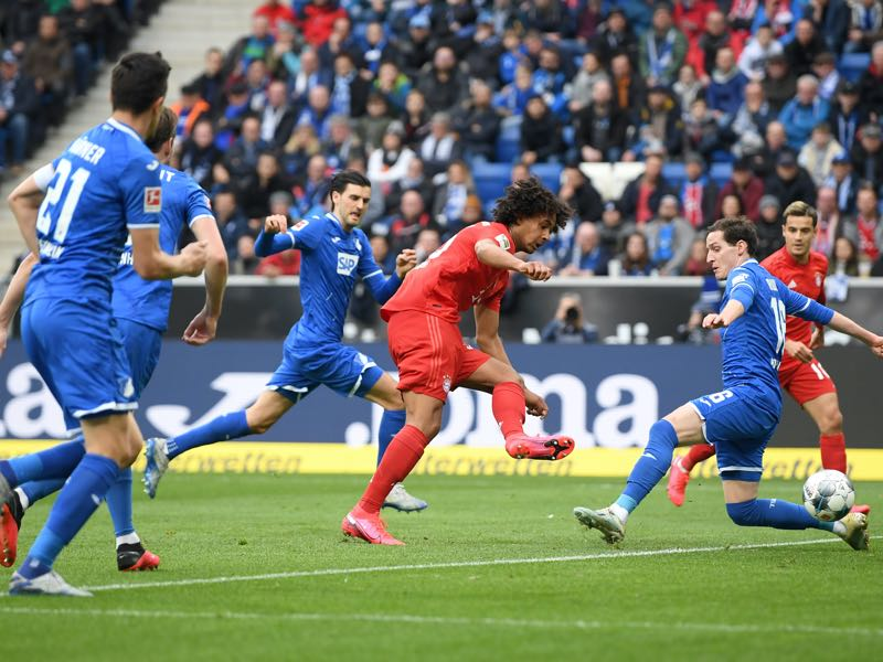 Hoffenheim v Bayern - Joshua Zirkzee of Bayern Munich scores his sides third goal during the Bundesliga match between TSG 1899 Hoffenheim and FC Bayern Muenchen at PreZero-Arena on February 29, 2020 in Sinsheim, Germany. (Photo by Matthias Hangst/Bongarts/Getty Images)