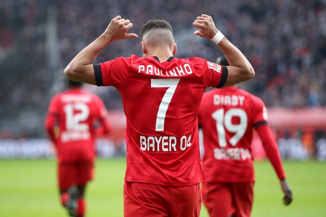 Paulinho celebrates after scoring his team's fourth goal during the Bundesliga match between Bayer 04 Leverkusen and Eintracht Frankfurt at BayArena