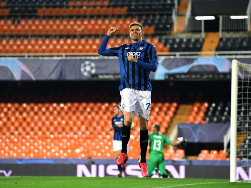 Josip Atalanta's Slovenian midfielder Josip Ilicic celebrates after scoring during the UEFA Champions League round of 16 second leg match between Valencia CF and Atalanta at Estadio Mestalla on March 10, 2020 in Valencia. (Photo by - / POOL UEFA / AFP) (Photo by -/POOL UEFA/AFP via Getty Images)