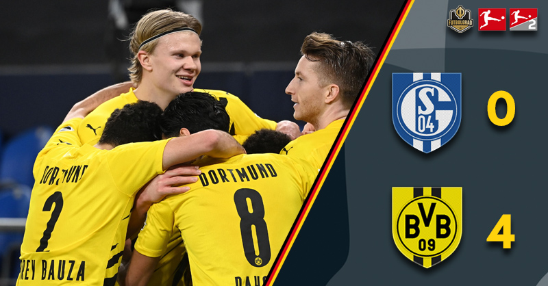 Erling Haaland and Jadon Sancho turn on the style as Dortmund thrash Schalke 0-4